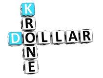 parole incrociate della corona scandinava del dollaro 3D Fotografia Stock