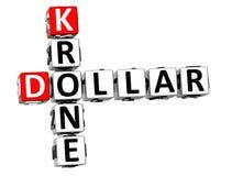 parole incrociate della corona scandinava del dollaro 3D illustrazione di stock