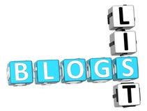 Parole incrociate della lista dei blog Fotografia Stock