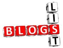 Parole incrociate della lista dei blog Fotografie Stock Libere da Diritti