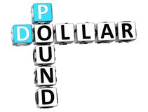 parole incrociate della sterlina del dollaro 3D Fotografia Stock Libera da Diritti