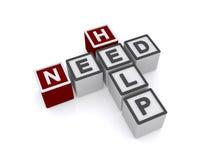 Parole incrociate di aiuto di bisogno Immagine Stock
