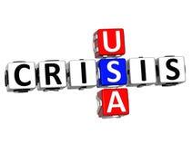 parole incrociate di crisi di 3D U.S.A. Fotografia Stock