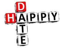 parole incrociate felici della data 3D su fondo bianco Fotografia Stock