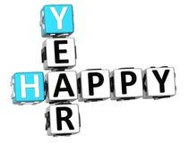 parole incrociate felici di anno 3D Immagine Stock Libera da Diritti