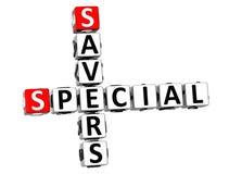 parole incrociate speciali dei risparmiatori 3D su fondo bianco Immagine Stock Libera da Diritti