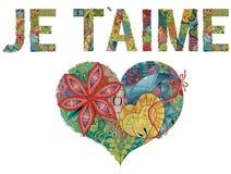 Parole JE T AIME con cuore Ti amo in francese Oggetto decorativo dello zentangle di vettore royalty illustrazione gratis