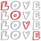 Parole scritte a mano di amore Illustrazione di vettore Fotografia Stock