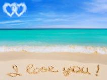 Parole ti amo sulla spiaggia Fotografia Stock