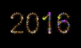 2016 parole variopinte del testo dei fuochi d'artificio Fotografia Stock Libera da Diritti