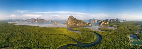 Paronamic aerial view of Phang Nga bay Royalty Free Stock Image