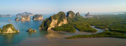 Paronamic aerial view of Phang Nga bay Stock Images