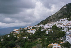 A paroramic view of a mountain and Mijas, a small touristyc white-washed village at Malaga province Royalty Free Stock Photography