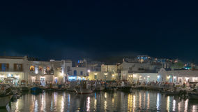 Paros, Греция, 8-ое августа 2015 Ночная жизнь Naoussa на острове Paros в Греции Стоковая Фотография