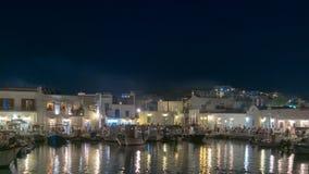 Paros, Grécia, o 8 de agosto de 2015 Vida noturno de Naoussa na ilha de Paros em Grécia Fotografia de Stock