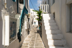 Paros, Greece, 15 August 2015. Graphic alley at Paros island in Greece in the morning. Royalty Free Stock Image