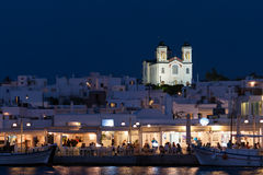 Paros, Greece 8 August 2015. Naoussa in Paros in Greece landscape at night. A beautiful and graphic Greek island. Royalty Free Stock Photos