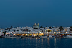 Paros, Greece 8 August 2015. Naoussa view at night, a famous touristic destination in Greek island Paros. Royalty Free Stock Photos