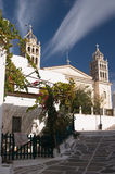 Paros, Greece, church, belltower with bells. Cyclades, Paros island, Greece, church, cross, belltower, bells Stock Photos