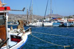 PAROS, GREECE, SEPTEMBER 18, 2018, Beautiful boats in the port of Parikia. PAROS, GREECE, SEPTEMBER 18, 2018, Beautiful boats of various types in the port of royalty free stock photography