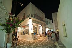 Paros, Greece, September 14 2018, Typical view of shops and relaxed tourists in the town of Naoussa stock photo