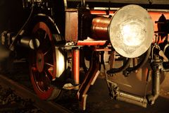 Parostatek lokomotywa w nocy obrazy royalty free