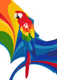 Parot. A bird with fruits and floral background with design elements Stock Images