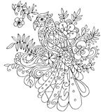 Parot for coloring with many elements Royalty Free Stock Photography