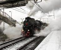 Parowa lokomotywa iść ruszać się Obrazy Royalty Free