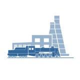 Parowa lokomotywa przy przemysłową rośliną ilustracji