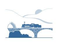 Parowa lokomotywa w górach ilustracja wektor