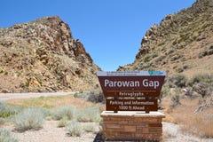 Parowan Gap tecken Arkivbilder