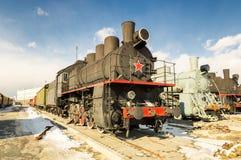 Parowej lokomotywy retro eksponat militarnej historii muzeum, Rosja, Yekaterinburg, 31 03 2018 Obraz Stock