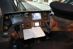 Parowozowego kierowcy pociąg Zdjęcia Stock