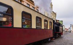 Parowy pociąg, Molli iść przez Złego Doberan Zdjęcia Royalty Free