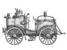 Parowy samochód na białym tle nakreślenie royalty ilustracja