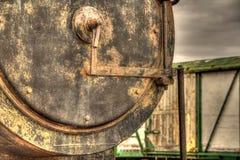 Parowy Taborowy lokomotywy zakończenie up z frachtem w tle Obraz Royalty Free