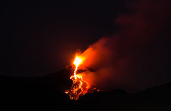 Paroxysm of mount etna. Highest volcano in europe . this is the see in night, with a red fire in a dark night stock images