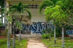 Parque abandonado del agua, tonalidad fotografía de archivo libre de regalías