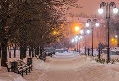 Parque adornado de la ciudad del invierno foto de archivo libre de regalías