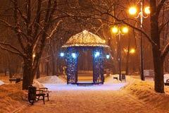 Parque adornado de la ciudad del invierno en la noche Fotos de archivo libres de regalías