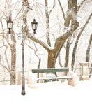 Parque agradable en invierno Imágenes de archivo libres de regalías