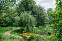 Parque ajardinado com uma lagoa Foto de Stock Royalty Free