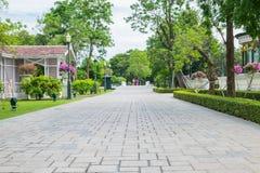Parque al aire libre con el árbol y el camino fotos de archivo