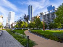 Parque bicentenario en el Oklahoma City - distrito céntrico Imagen de archivo