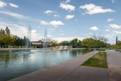 Parque Central Park jezioro - Mendoza, Argentyna obraz stock