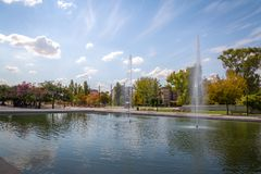 Parque Central Park jezioro - Mendoza, Argentyna zdjęcia stock