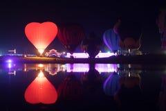 Parque Chiang Rai de Singha Silhuetas e borrão do balão Imagem de Stock Royalty Free