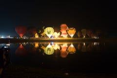 Parque Chiang Rai de Singha Silhuetas e borrão do balão Foto de Stock Royalty Free