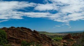 Parque Colorado de Denver City Skyline Red Rocks Fotografia de Stock